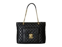 Love Moschino Quilted Tote With Chain Black Tote Handbags