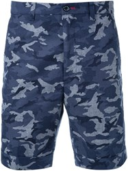 Loveless Camouflage Print Shorts Blue