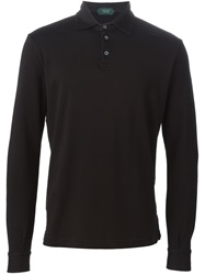 Zanone Longsleeved Polo Shirt Black