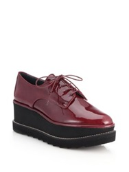 Stuart Weitzman Pipekent Patent Leather Platform Oxfords Red