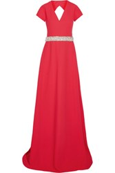 Raoul Capricia Embellished Cutout Crepe Gown Red