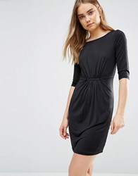 Lavand Gather Detail Shift Dress In Black Black