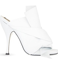 No 21 Bow Heeled Mule Sandals White