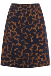 Warehouse Camo Animal Jacquard Skirt Navy