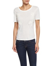 See By Chloe Short Sleeve Embroidered Jersey Tee Cloud Dancer