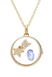 Loquet 14Kt Round Locket With 18Kt Charm Tanzanite And Diamonds Multicolor