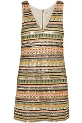 Alice Olivia Venetia Embellished Crepe Mini Dress Metallic