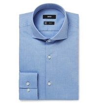 Hugo Boss Blue Jason Slim Fit Cutaway Collar Herringbone Cotton Shirt Blue