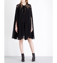 Elie Saab Cape Sleeve Floral Lace And Silk Blend Dress Black
