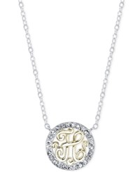 Unwritten Initial 'H' Pendant Necklace With Crystal Pave Circle In Sterling Silver And Gold Flash Two Tone
