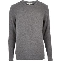 River Island Mens Grey Long Sleeve Waffle Texture Jumper