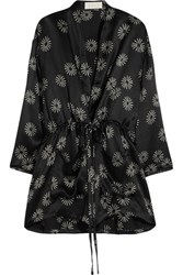 Keji Printed Hammered Silk Jacket Black