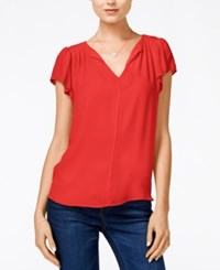 Maison Jules Flutter Sleeve Woven Top Only At Macy's Cosmic Orange