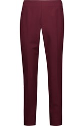 Oscar De La Renta Wool Blend Twill Slim Leg Pants Burgundy
