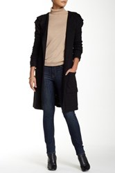 Lulu Hooded Tie Waist Long Cardigan Black