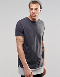 Asos Super Longline T Shirt With Layered Contrast Hem Extenders With Wide Neck Trim Ebony Grey