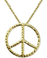 Macy's Textured Peace Sign Pendant Necklace In 18K Gold Plated Sterling Silver Yellow Gold