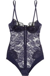La Perla Talisman Embroidered Leavers Lace And Stretch Satin Bodysuit Black
