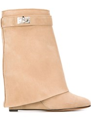 Givenchy 'Shark Lock' Mid Calf Boots Nude And Neutrals