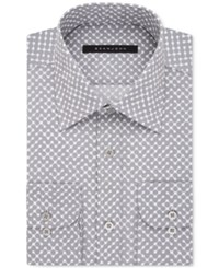 Sean John Men's Classic Fit Gray Dot Print Dress Shirt