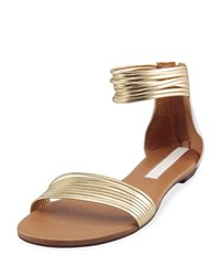 Carrano Adeline Strappy Leather Sandal White Gold