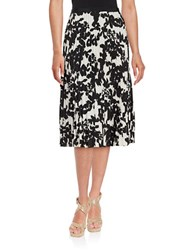 Karl Lagerfeld Floral Pleated Skirt Black White