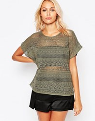 B.Young Short Sleeve Lace Top Dusty Olive Green