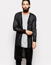 Asos Longline Cardigan In Sheer Knit Black