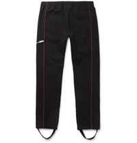 Alexander Mcqueen Tapered Contrast Piped Stretch Cotton Jersey Sweatpants Black