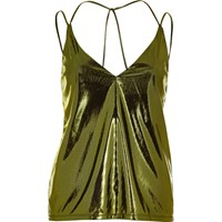 River Island Womens Metallic Green Cami Top