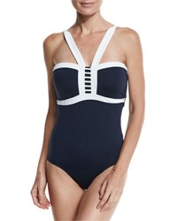 Seafolly Block Party Maillot Navy Available In Extended Dd Cup