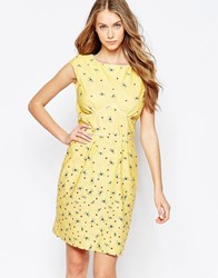 Trollied Dolly To The Point Tea Dress In Dragonfly And Ladybird Print Yellow Dragonfly And