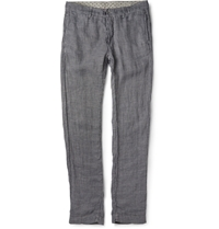 Massimo Alba Garment Dyed Hounstooth Linen Trousers Gray