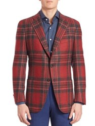 Isaia Wool Plaid Sportcoat Red