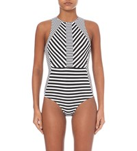 Jets By Jessika Allen Meridian Striped Swimsuit Black White