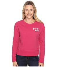 Life Is Good Painted Go To Crew Rose Berry Women's Long Sleeve Pullover Pink