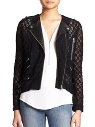 The Kooples Lace And Leather Moto Jacket Black