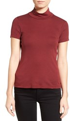 Splendid Women's Mock Neck Open Back Tee Maroon