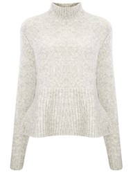 Derek Lam Grey Alpaca Turtleneck Peplum Jumper