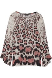 Just Cavalli Leopard Print Silk Blend Top White