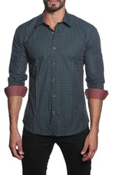 Jared Lang Long Sleeve Checked Semi Fitted Shirt Green