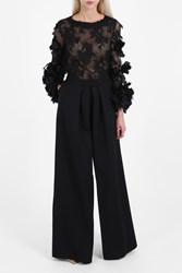 Marchesa Organza Flowers Lace Top Black