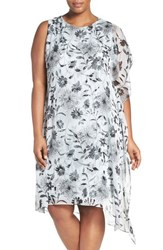 Vince Camuto Plus Size Women's Asymmetrical Overlay Floral Print Dress Smoke Blue
