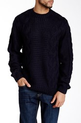 Weatherproof Fisherman Cable Sweater Blue
