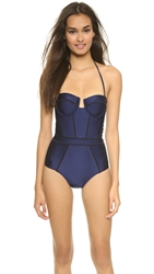 Suboo Panelled Swimsuit Navy