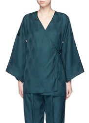 Rosetta Getty Cutout Sleeve Kimono Wrap Top Green