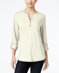 Styleandco. Style Co. Crochet Trim Henley Top Only At Macy's Warm Ivory