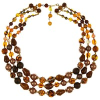 Eclectica Vintage 1950S Gold Plated Glass And Resin Three Row Bead Necklace Gold Multi