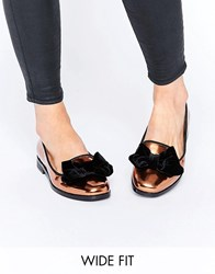 Asos Monica Wide Fit Bow Slippers Bronze Copper
