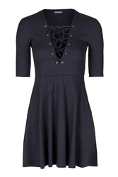Tie Up Front Skater Dress By Glamorous Petites Navy Blue